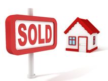 Sold House Real Estate Concept Red Sign. 3d Stock Photo