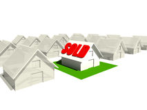 Sold House. Real estate homes with a Sold sing on one of the houses stock illustration