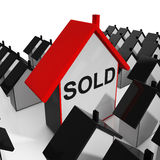 Sold House Shows Purchase Or Auction Of Home Royalty Free Stock Photography