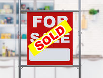 Sold house sign hanging with metal pipe Stock Photos