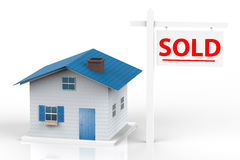 Sold house. Sign with mock up house royalty free stock photos