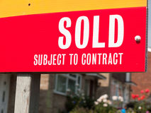 Sold house sign up close Stock Image