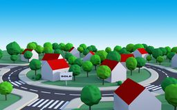 Sold house in the suburbs. Housing estate in the suburbs with sold house and space to add text Stock Photo