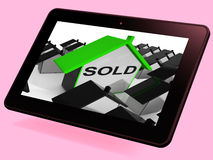 Sold House Tablet Shows Purchase Or Auction Of Home Stock Photo