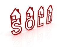 Sold houses on white background Stock Photos