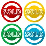 Sold icons set with long shadow. Vector icon Stock Photos