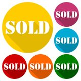 Sold icons set with long shadow. Vector icon Royalty Free Stock Image