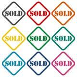 Sold icons set. Vector icon Stock Photos