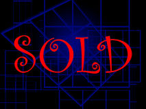 Sold illustration. Illustration of word sold on black background with 3D shapes Royalty Free Stock Photo