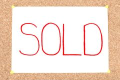 Sold inscription Royalty Free Stock Image