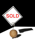 Sold label on a clip Royalty Free Stock Images