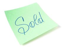 Sold message Stock Image
