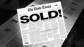 Sold! - Newspaper Headline (Intro + Loops) stock footage