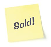 Sold Note. Sticky note indicating item is sold, isolated on white Royalty Free Stock Image