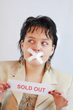 Sold out. Office women with sold out sign Royalty Free Stock Image