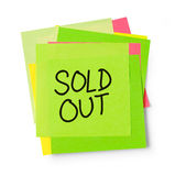 Sold out on adhesive note Royalty Free Stock Images