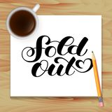 Sold out brush lettering. Vector illustration or poster or banner stock images