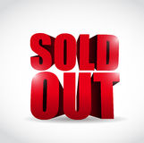 Sold out 3d text sign illustration design. Over a white background Stock Photography