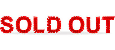 Sold out folded paper sign Stock Images