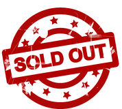 Sold out. Poster or stamp with the words Sold out in red on white. Scratched or grunge style stock illustration