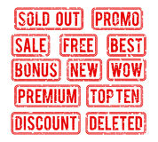 Sold out and promo, bonus sale vector stamps Stock Image