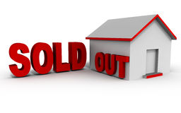 Sold out property. Sold out text against a house model, white background red text, concept of home and property sale Royalty Free Stock Images
