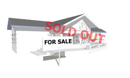 Sold out real estate concept sign show for sale new house 3D model computer Stock Photo