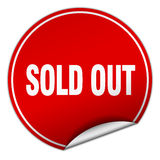 Sold out round red sticker. Isolated on white royalty free illustration