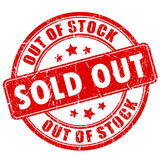 Sold out rubber business stamp stock illustration