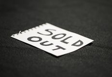 Sold out sign in a paper royalty free stock photography