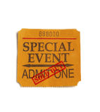 Sold Out special event. Special Event ticket stub with Sold Out stamp, on white Stock Images