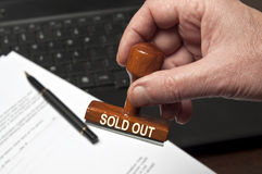 Sold out stamp stock photography