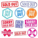 Sold out stamps with grunge texture isolated vector labels set. Colored sold out grunge rubber stamp and imprint illustration Stock Photo