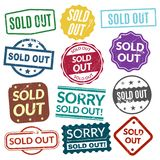 Sold out stamps. Stamping patterns, marks to indicate sell all of a product that is in not in stock. Vector flat style cartoon illustration isolated on white Stock Image