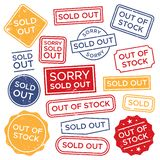 Sold out stamps. Out of stock rubber stamp, red rectangular shopping label and sales badge tag vector set vector illustration