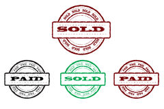 Sold and paid stamps. Vector illustration with grunge effect Royalty Free Stock Photography