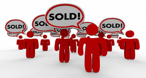 Sold People Speech Bubble Closed Deal Customers Royalty Free Stock Photography