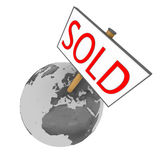 Sold planet. Sold sign on planet Earth isolated on white background. Elements of this image furnished by NASA Royalty Free Stock Images