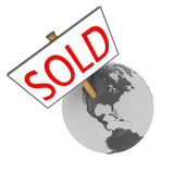 Sold planet. Sold sign on planet Earth isolated on white background. Elements of this image furnished by NASA Royalty Free Stock Photography