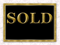 Sold Real Estate Sign Gold Black White Marble Royalty Free Stock Photo