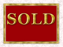 Sold Real Estate Sign Gold Red White Marble Stock Images