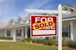 Sold Real Estate Sign and House Royalty Free Stock Photo