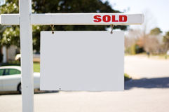 Sold realty sign. On a sunny day Royalty Free Stock Photo