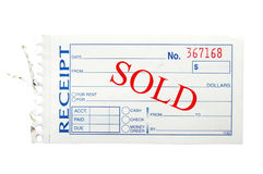Sold receipt Royalty Free Stock Images