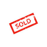 Sold red stamp on white. Square grunge mark Isolated Vector Illustration