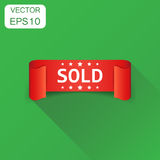Sold ribbon icon. Business concept discount sale sticker label p. Ictogram. Vector illustration on green background with long shadow Royalty Free Stock Image