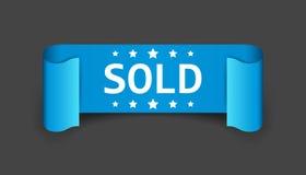Sold ribbon vector icon. Stock Photos