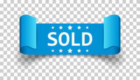 Sold ribbon vector icon. Discount, sale sticker label on isolate. D background Stock Photo