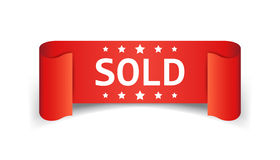 Sold ribbon vector icon. Discount, sale sticker label on white background Royalty Free Stock Photo