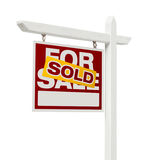 Sold For Sale Real Estate Sign with Clipping Path. Left Facing Sold For Sale Real Estate Sign with Clipping Path Isolated on White Stock Photography